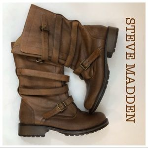 Steve Madden P Ashtin Brown Leather Boots Size 7